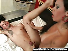 Big cock for busty shemale