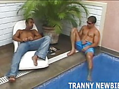 Having a hot threesome with an exotic tranny