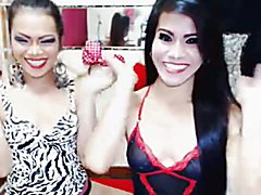 These two horny shemale duo will make you want to join their party. Watch them strip all the...