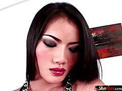 Small ladyboy femboy jerks off and cums