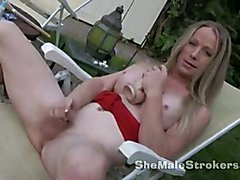 Blonde Shemale Laura Stroking Outside  - clip # 02