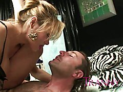 Tranny Art Rich chick with dick fucking her man slave  - clip # 02