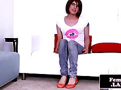 Firsttime transitioning femboy jerking cock