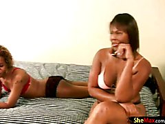 Black BBW tgirl sucks cock and gets anal fucked with strapon