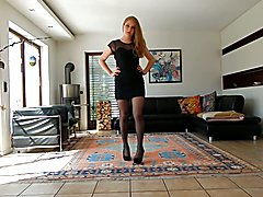Crossdresser wears a black prom dress
