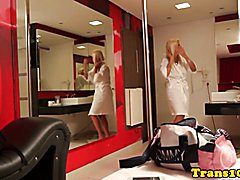 Doppelganger tgirls get ready for their scene