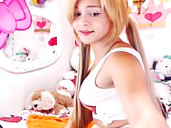 Blonde teen shemale on webcam