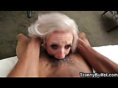 Transsexual slut Juliette Stray got roughly throatfucked by a big black cock before cumming ...