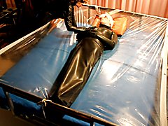 Two latex play on rubber bed