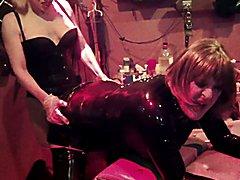 Latex Slut pegged hard and then sucks strapon!  - clip # 02