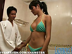 Asian shemale Barbie in soapy massage fun as she lathers up her man and then slides her hot ...