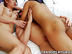 Tranny Proud adn Champagne and Spencer Fox in hot sex action