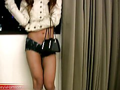 Stunning ladyboy inserts a condom candle sex toy in the ass  - clip # 02