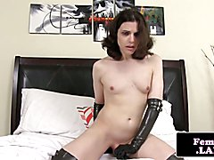 Amateur newbie trap jerks cock and toys ass before cumming on gloves