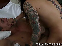 Beautiful tattoed tranny Foxxy drills Alexander Gustavos ass