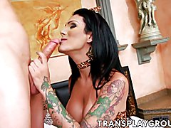 Hot black haired tranny Deborah takes Nellys long cock deep