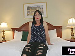 Amateur femboy jerks and shows off trans ass with flexible legs