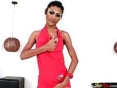 Feminine Thai femboy in stockings strokes her massive dick  - clip # 02