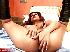 This sexy brunette shemale loves how the leather feels on her skin as she moves around or ju...