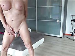 look at me naked in chastity cage and rosebud  dressing in a beautiful pink fetish sissy,smo...