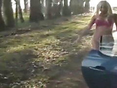 Sexy Blonde T-Girl Outdoors