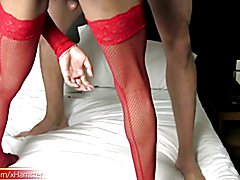 Asian tranny in red stockings sits her asshole on huge cock