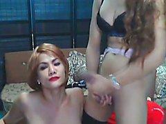 Sexy Shemale Slurps Sticky Cum  - clip # 02