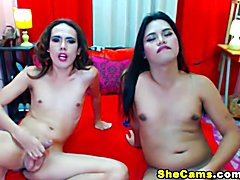 Two horny shemale sluts are in for a game of cock sucking and ass playing. See these skinny ...