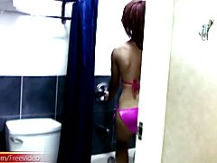 Young and sweet Emo gets does a nice naked rub a dub in the tub for the video. But first she...