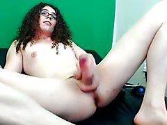 Brunette Tgirl masturbation