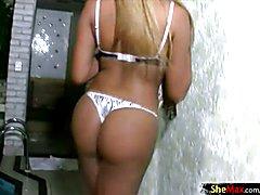 Feminine shemale slips out of zebra lingerie and wanks off  - clip # 02