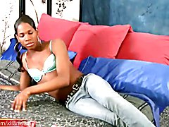 Adriana is an attractive black femboy with a foxy smile, real monstercock and big saggy ball...