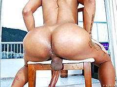 Busty tranny Tayla Leal takes off her bikini to show her tan lines and big dick