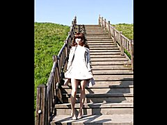 Runaway Sissy Ladyboy Bride outdoors
