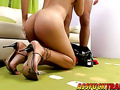Sexy brunette tranny Zafiro gets drilled by hot dude Kevin
