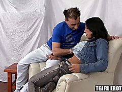 Smoking hot brunette tranny Scooba Morena with nice tits only wants hard prick inside her. S...