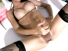 Black hair ladyboy poses in black stockings and strokes dick  - clip # 02