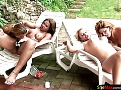 T-girl orgy you do not want to miss, with four stunning t-babes all out by the pool enjoying...