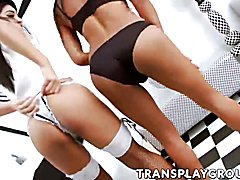 Asian trannies Alisa C and Seang having hardcore action