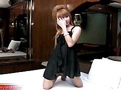 Pretty face ladyboy exposes her juicy dick and masturbates  - clip # 02