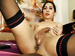 Ffilipino ladyboy shows her huge cock, big balls & round ass