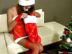 Hark the herald angels sing this ladyboy has a big cock. Boy are you guys in for a treat thi...