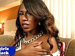 Ebony tgirl beauty busting creamy load after jerking her hard rod