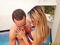 Blonde shemale Milena Vendramine gets fucked by the pool