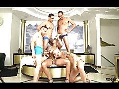 Gorgeous Tgirl Rafaella gangbanged by four guys
