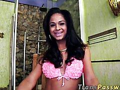Smoking hot latina transsexual Kelly Costa masturbates