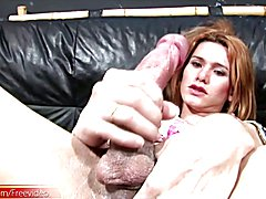 Smokin hot t-girl jerks off her meatstick until she creams  - clip # 02