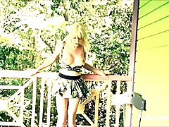 Mature TGirl in Cute Camoflage Outfit Cumming