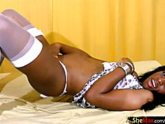 This adorable dark skinned tranny hottie is Ana Beatriz Sanchez and you are going to love wa...