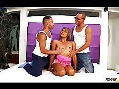 Gorgeous tranny Andrea Juliana fucked by two boys